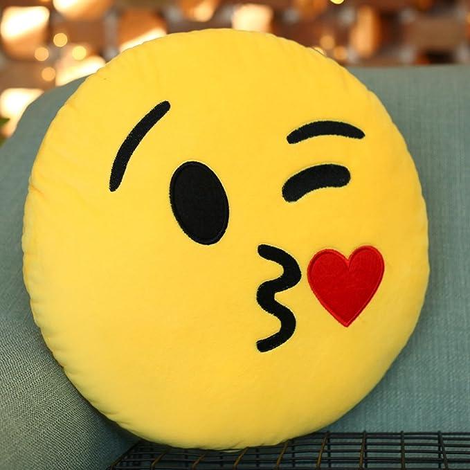 Cojín con emoticono Purple-Salt® lanzando un beso, mono, suave y relleno, 28 cm, redondo, amarillo, grueso, colorido, regalo