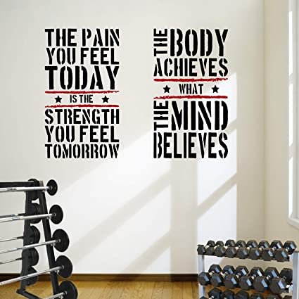 Amazon.com: designdivil 2 large home gym fitness motivational wall