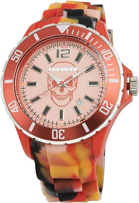 CEPHEUS Army CPX01-094 - Reloj analógico de Cuarzo Unisex, Correa de Silicona Color Naranja