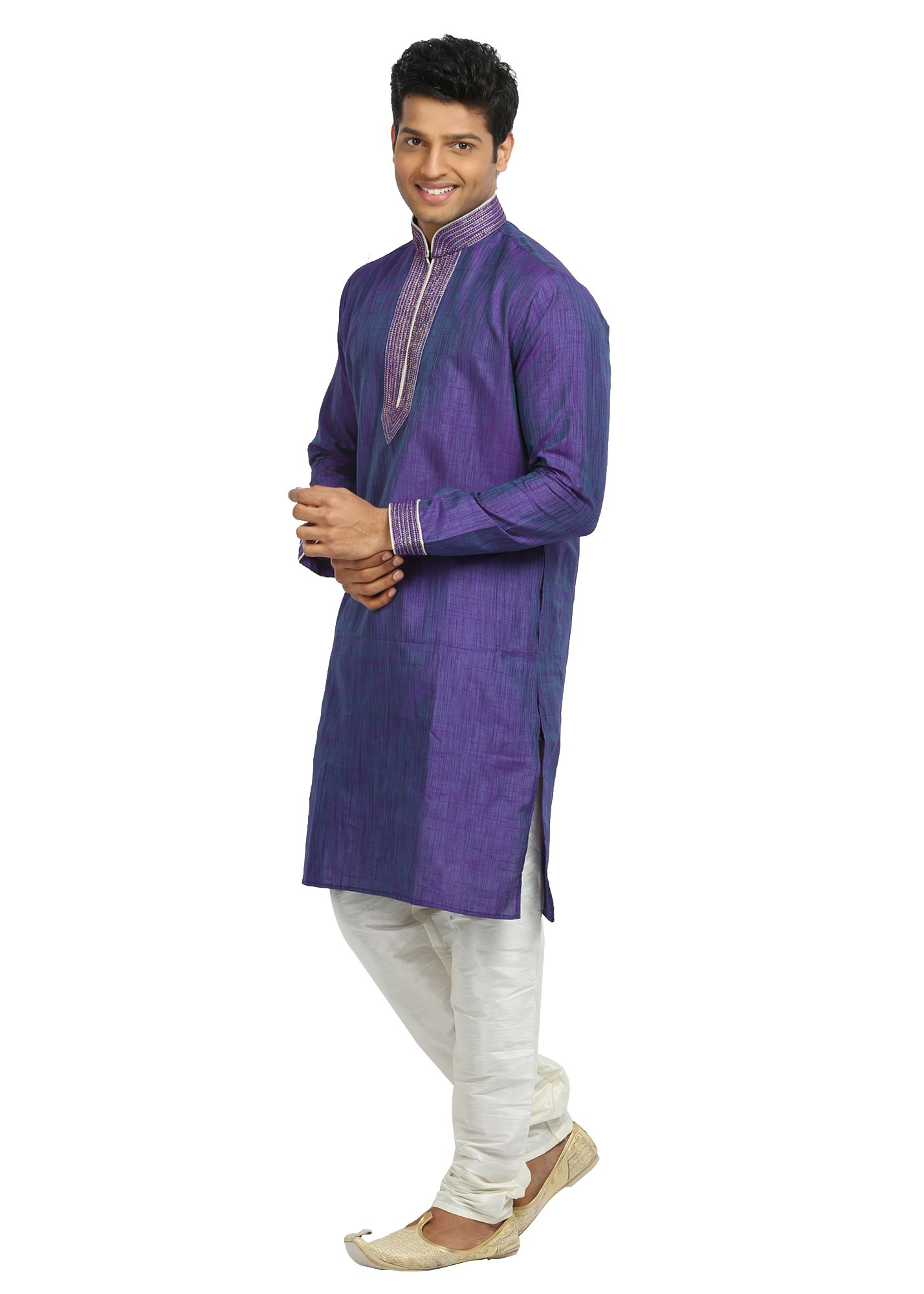 Saris and Things Purple Violet Cotton Linen Indian Kurta Pajama for Men by Saris and Things (Image #2)