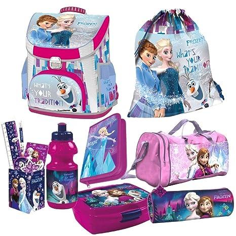 Frozen die Eiskönigin Anna ELSA Olaf 8 Teile Set Schulranzen Schulrucksack Rucksack RANZEN TORNISTER Tasche mit Sticker von K