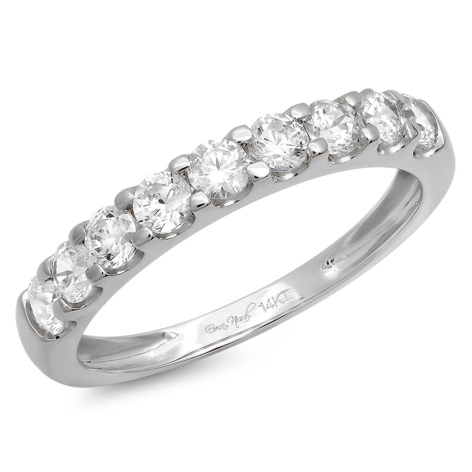 Clara Pucci 1.0 CT Round Cut CZ Designer Pave Bridal Engagement Wedding Ring Band 14K White Gold, Size 5.75 by Clara Pucci