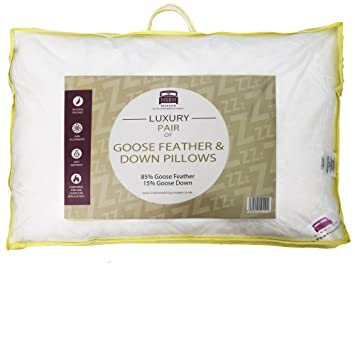 2 x dickens branded luxury goose feather u0026 down pillows comfortable soft best hotel quality