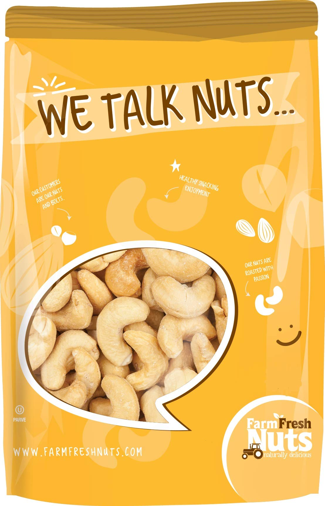 DRY ROASTED CASHEWS UNSALTED - Baked In Small Batches - WITHOUT OIL - PERFECTLY CRUNCHY - NATURALLY DELICIOUS. 1 Pound Bag