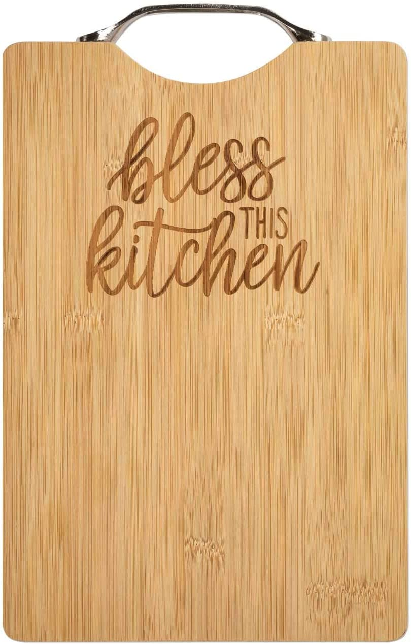 Brownlow Gifts Bamboo Cutting Board with Handle, 11.75 x 7.5-inches, Bless This Kitchen