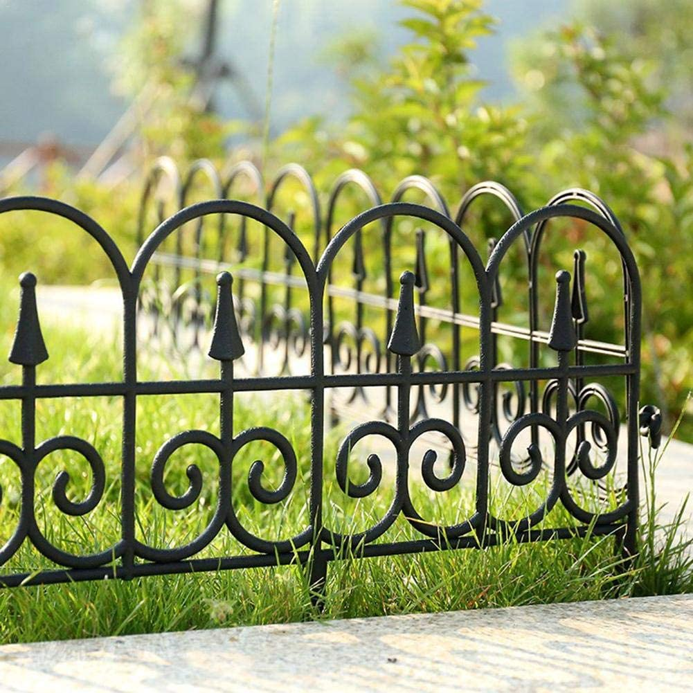 Loveinwinter Decorative Garden Fence Border, Durable Recycled Plastic Victorian Style Landscape Edging Garden Fence for Patio Yard Garden Decor(Black, 5 Packs, 22.8313.39inch)
