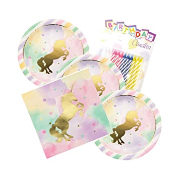 Amazon.com: Unicornio Sparkle tema platos y servilletas ...