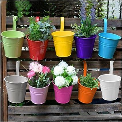 Metal Iron Flower Pot Hanging Balcony Plant Holder Fence Pots Garden Decor US