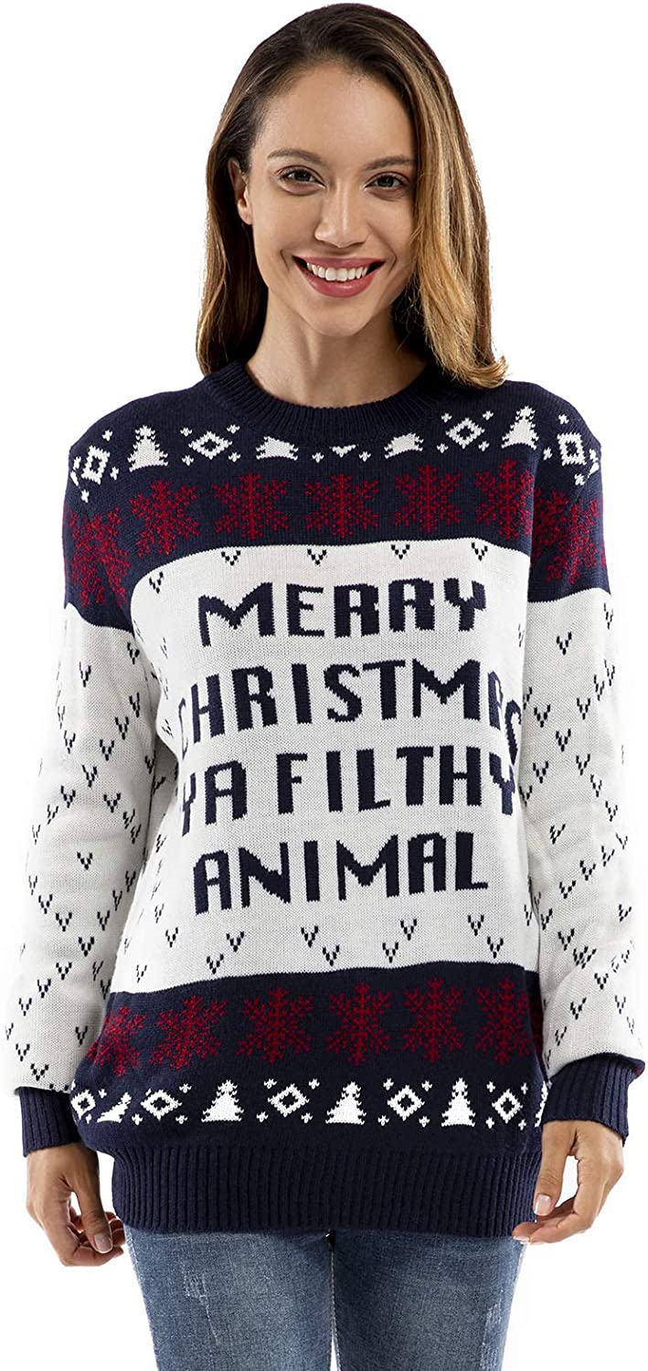 Unisex Women's Ugly Christmas Sweater Knit Funny Fairisle Pullover