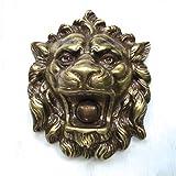 Antikas | Türklingel Löwe | 9 x 10 x 7 cm | Messing | Löwenkopf Klingel für Eingangstür historisch anmutend
