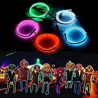 Solmore 5x 1m Funf Farben El Wire Leuchtschnur El Kabel Lichtschnur
