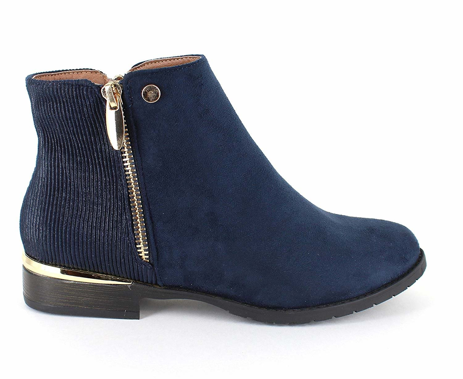 only Gold U Casual Faux Suede Gold only Trim Ankle Boots B07F9NTW6Q 5.5 B(M) US|Navy df8c4d