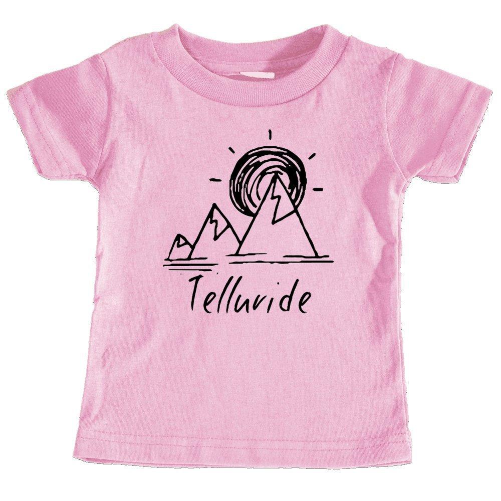 Telluride Colorado Mountain /& Sunset Hand Drawn Unisex Infant T-Shirt