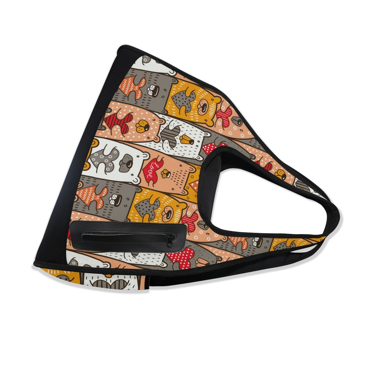 AHOMY Canvas Sports Gym Bag Cartoon Bear Heart Travel Shoulder Bag