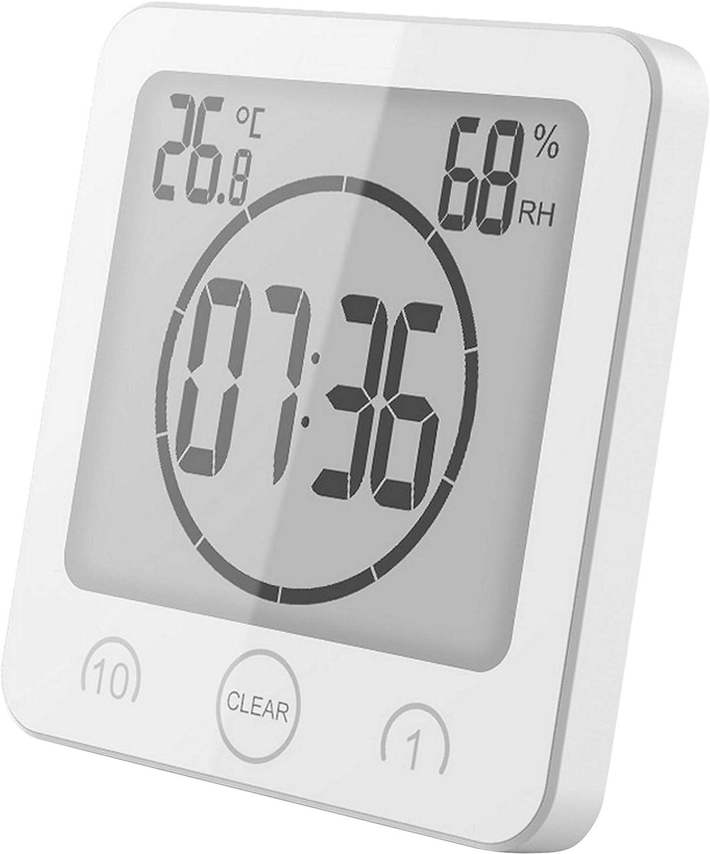 GuDoQi Reloj de Baño, Temporizador de Ducha, Resistente al Agua para Rociar Agua, Pantalla LCD de Termómetro Higrómetro, Ventosa, Reloj de Pared Digital para Ducha, Cocina, Maquillaje (Blanco)