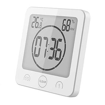 Attrayant GuDoQi Minuteries Horloge Murale Thermomètre Intérieur Hygromètre Pour Salle  De Bain Douche Maquillage Cuisine