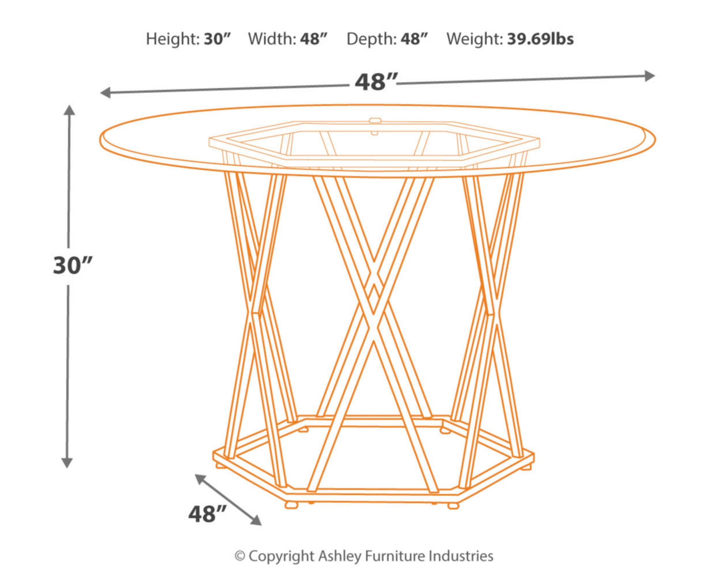 Signature Design by Ashley D275-15 Madanere Dining Table, Chrome by Signature Design by Ashley (Image #3)