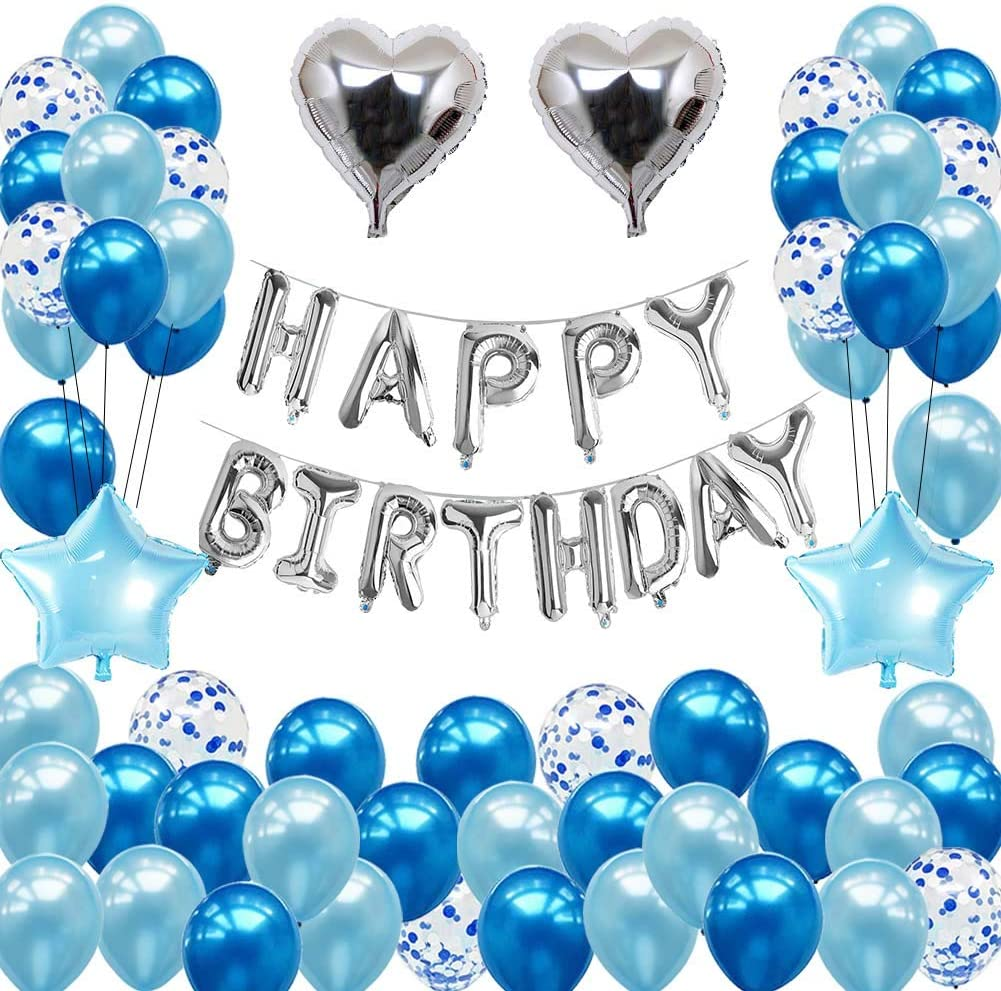 Birthday Decorations Party Supplies for Boys Blue Silver Birthday Party Decorations Happy Birthday Banner Foil Balloons for 10th 13th 16th 18th 20th 21st 30th 40th