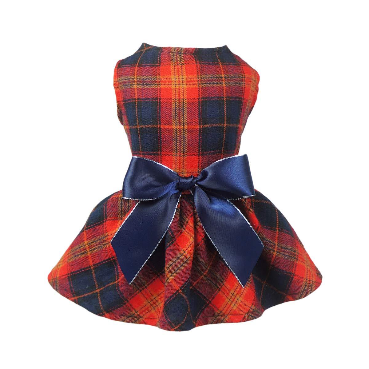 Fitwarm Pet Clothes for Dog Dresses Plaid Shirts Cat Apparel Cotton Red Medium