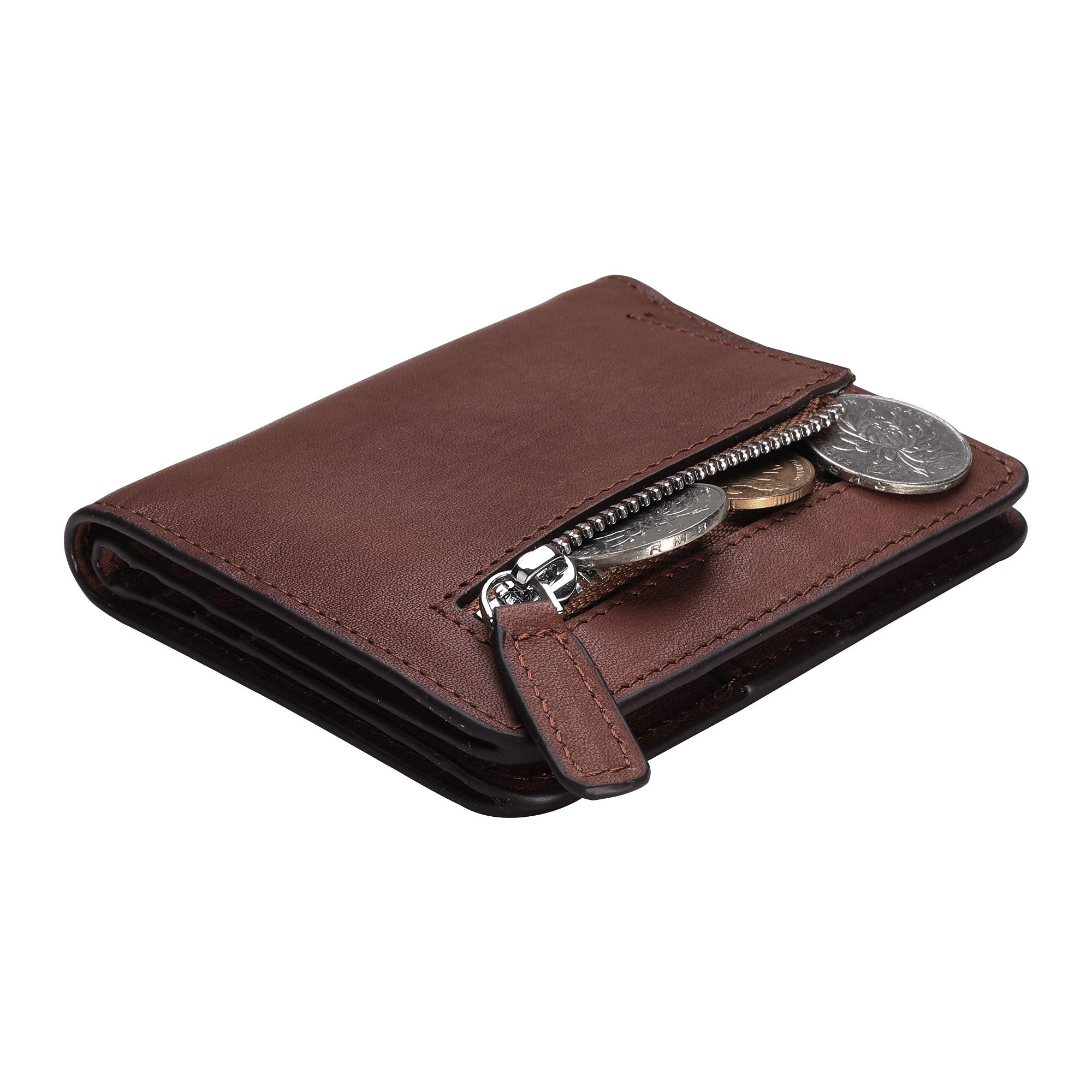 BIG SALE-AINIMOER Women's RFID Blocking Leather Small Compact Bifold Pocket Wallet Ladies Mini Purse with id Window (Vintage Brown) by AINIMOER (Image #6)