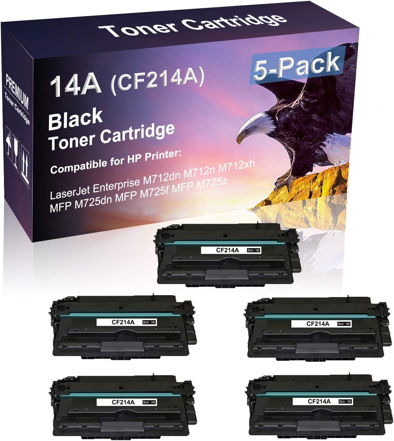 Replacement for HP 14A CF214A Imaging Cartridge for HP Laserjet Pro Enterprise M712dn M712n M712xh Printer High Yield Black Compatible Laser Printer Cartridge 5 Pack