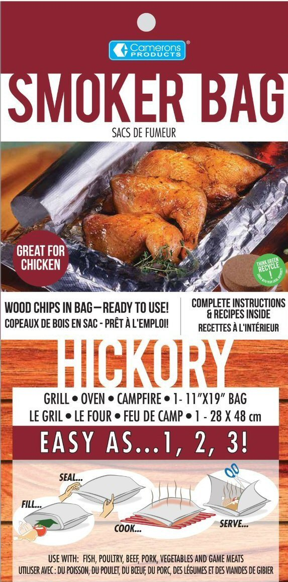 3 Pack of Hickory Savu Smoker Bags Imported From Finland Smoked Food from Oven or Grill without the Mess!