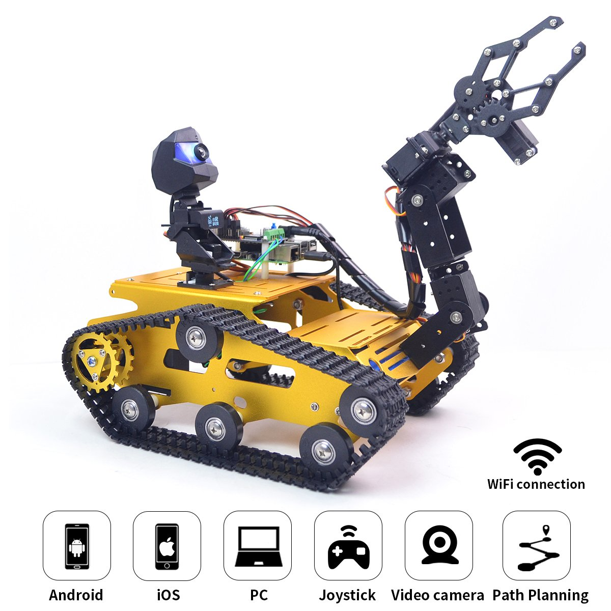 Upgraded WiFi Smart Robot Car Kit for Raspberry Pi, Gold Robot Tank  Chassis, 2DOF Hd Camera, 4DOF Robot Arm, Remote Control Vehicle Toy  Controlled by