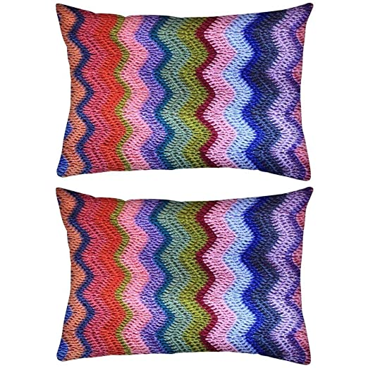 Pack de 2 lana cosidos patrón Rectángulo Toss Throw Pillow ...