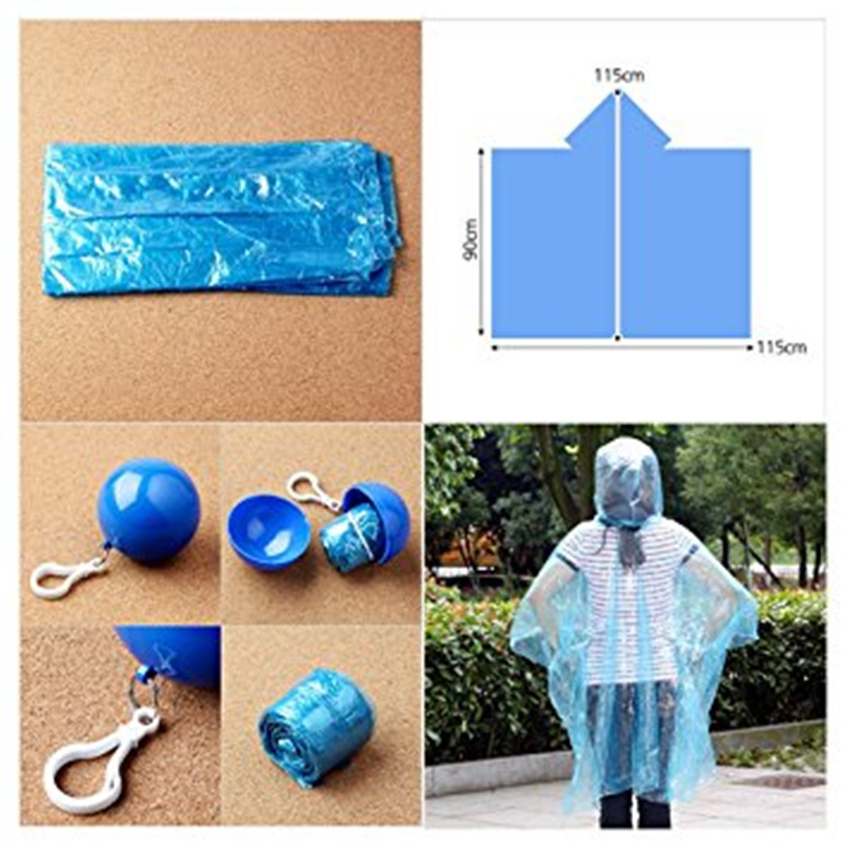 Disposable Emergency Raincoats Waterproof Raincoat Rain Poncho Colorful Set of Portable Hook Ball For Outdoor Activities Camping Mountaineering Travel Fishing 6 Packs WENHAOYU Portable Raincoat