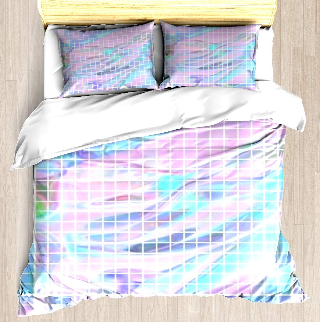 NTCBED Holographic Grid - Duvet Cover Set Soft Comforter Cover Pillowcase Bed Set Unique Printed Floral Pattern Design Duvet Covers Blanket Cover Queen/Full Size by NTCBED