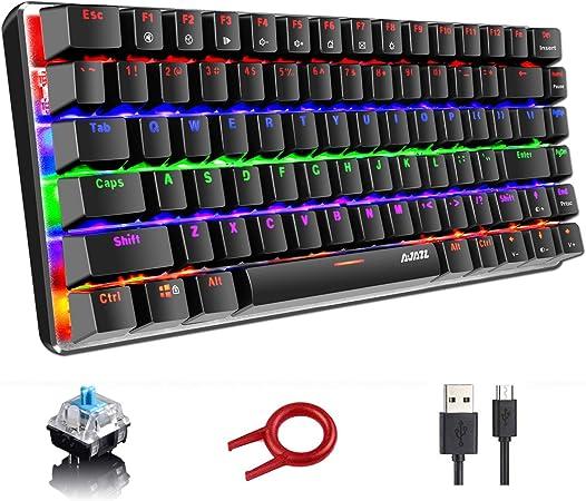 Teclado mecánico, AK33 Rainbow LED con retroiluminación LED Cable USB Teclado mecánico para juegos, 82 teclas Teclado compacto para juegos con teclas anti-efecto fantasma(Interruptor azul, negro): Amazon.es: Electrónica