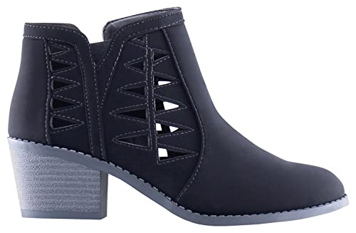 MARCOREPUBLIC Oslo Girls Kids Cutout Booties Chunky Block Heels Ankle Boots