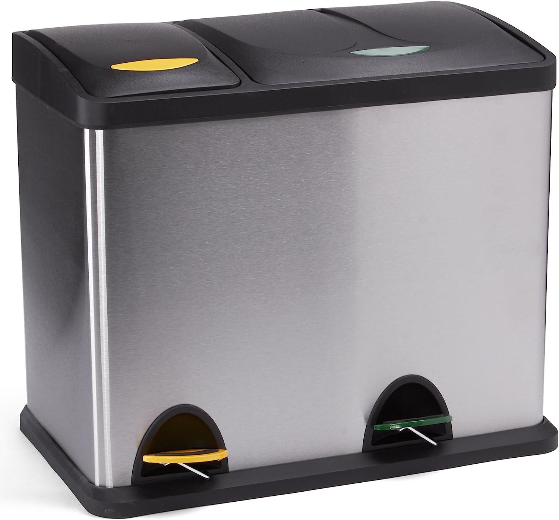 Pattumiera per raccolta differenziata MSV 100352 31 x 26,5 x 39,5 cm con 2 secchi in acciaio INOX e polipropilene
