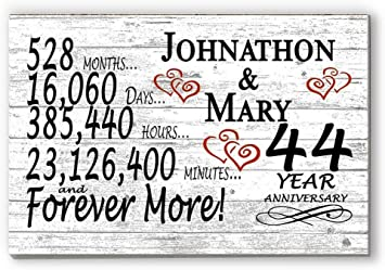 Amazon Com Broad Bay Personalized 44 Year Anniversary Sign Gift Forty Fourth Wedding Anniversary 44th For Couple Him Or Her Days Minutes Years Furniture Decor