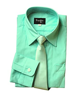 BIMARO Jungen Kinderhemd mit seidener Krawatte Mint grün Hemd festlich  Langarm Hochzeit Kommunion Taufe Einschulung, 41043ed051