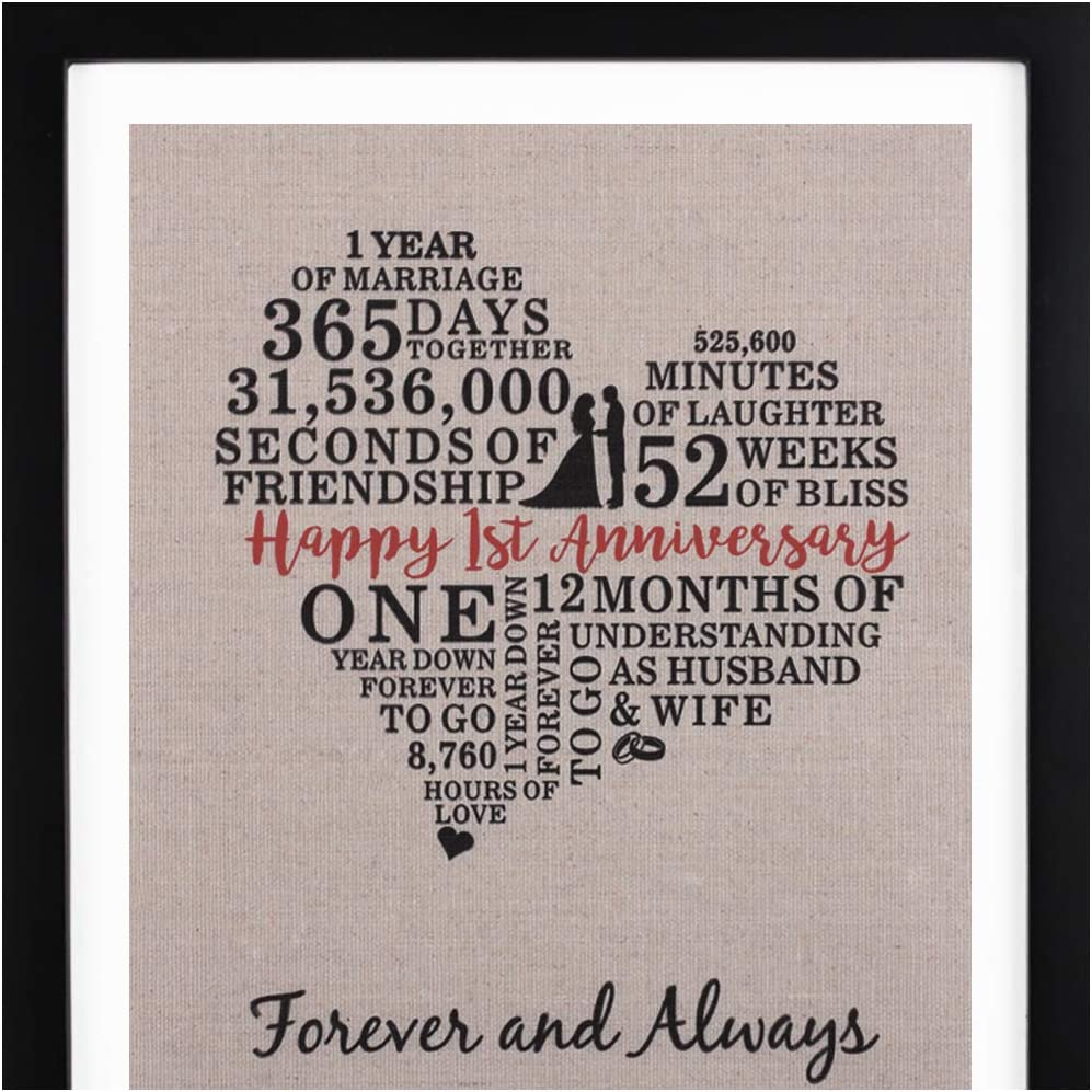 Amazon Com Framed 1st Anniversary Heart Burlap Gift 11 W X 13 H 1st Anniversary Gifts For Her 1 Year Anniversary Gifts For Men Kitchen Dining