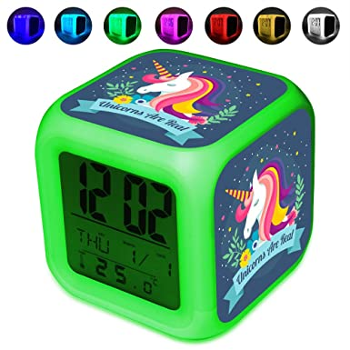 Glowing Digital alarma reloj para niños - Cambio de color ...
