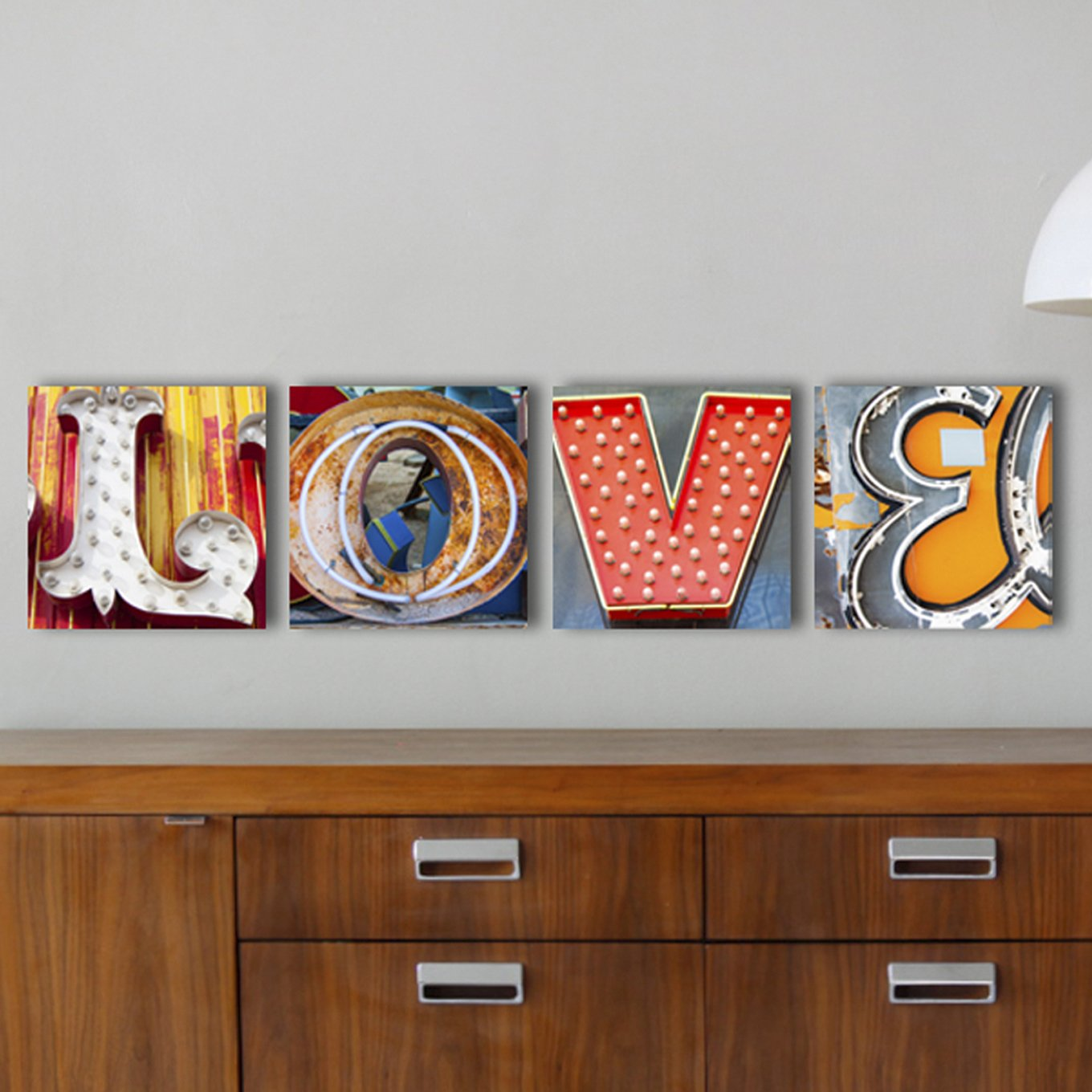 LOVE Sign, Neon Letter Art, Vegas Neon Letter Photos, 20x20 Mounted Prints