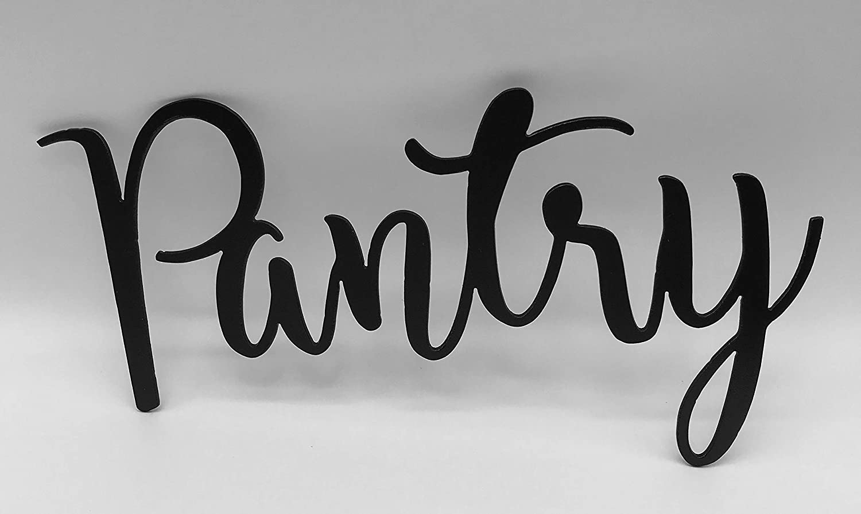 Epic Designs Pantry Colors Script Metal Steel Plasma Cut Sign for Door Wall Bathroom Decoration (Black)