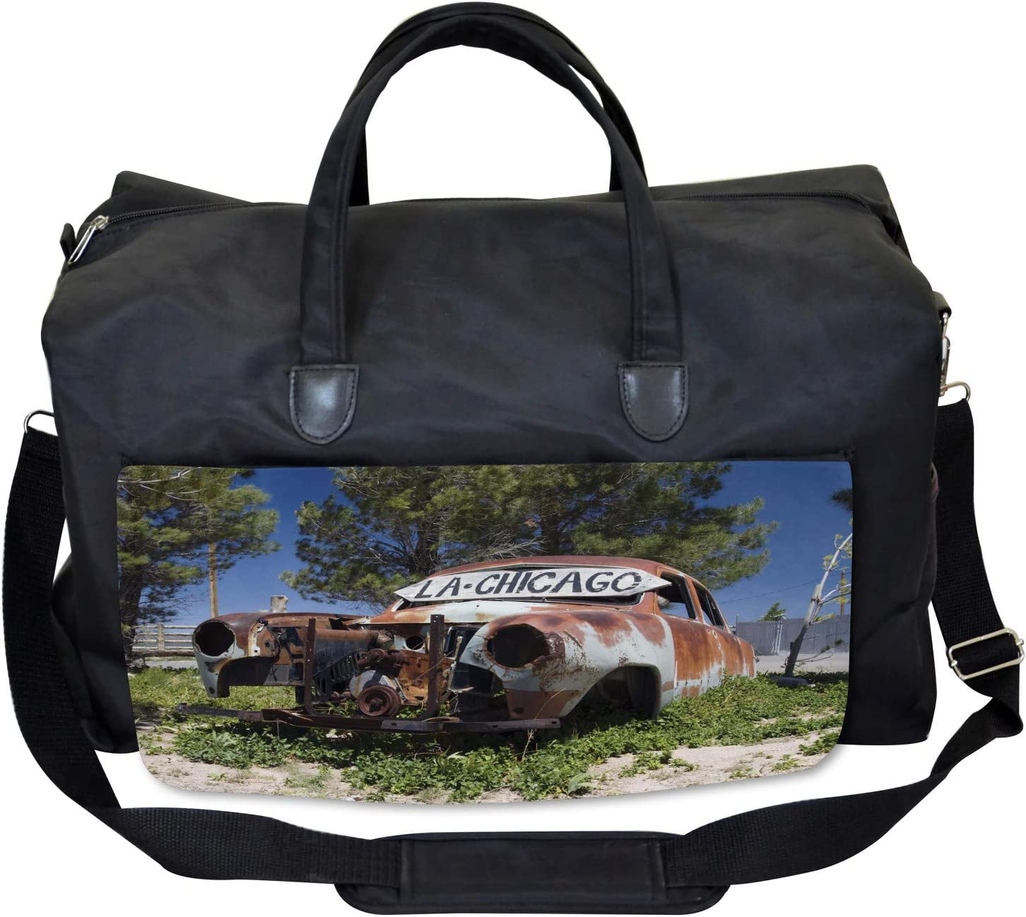 Old Abandoned Car USA Ambesonne Rustic Gym Bag Large Weekender Carry-on