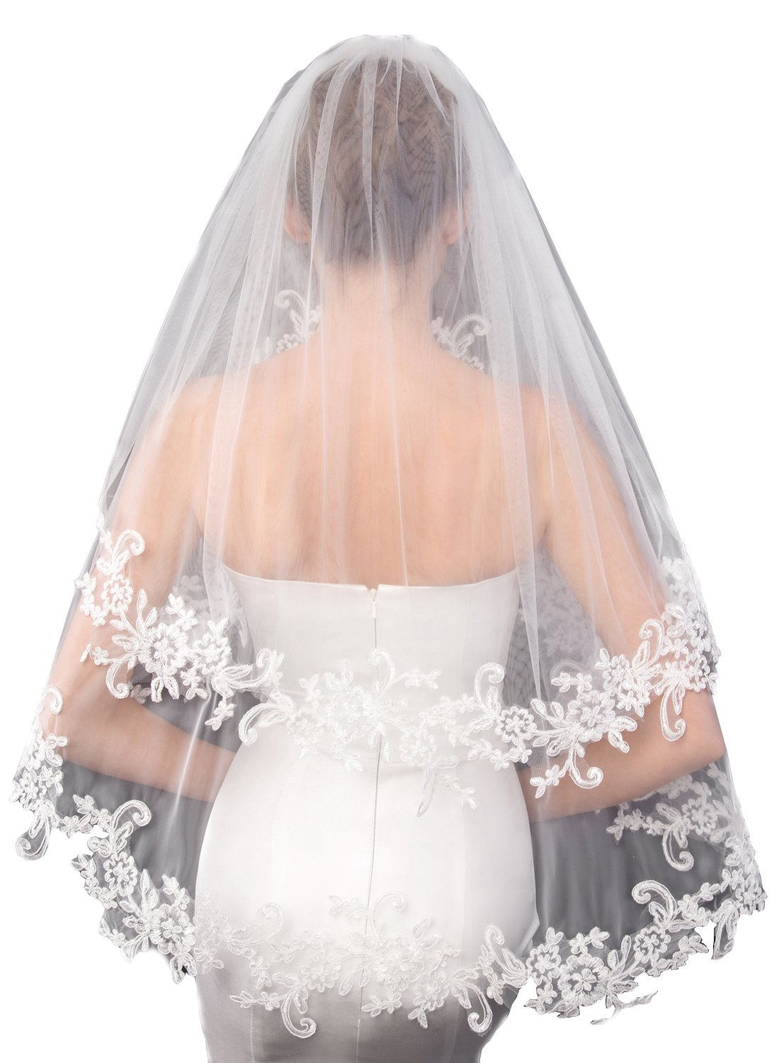Cibelle Women's Short 2 Tiers Lace Wedding Bridal Veil With Metal Comb Ivory