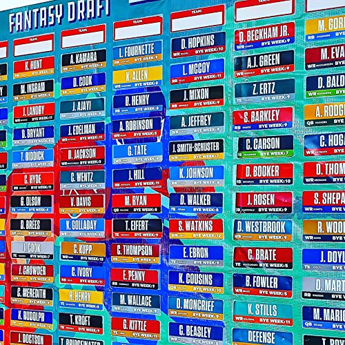 2019 Fantasy Football Draft Board Kit with Over 400 Player Labels Alphabetized by Position