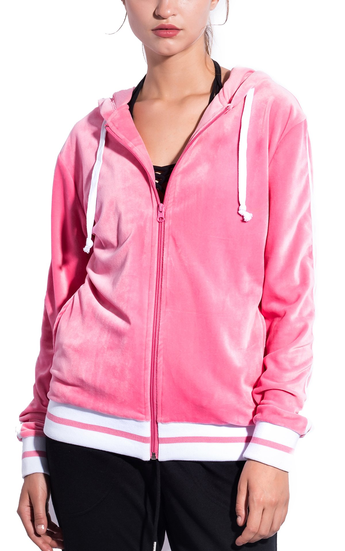 SPECIAL MAGIC Women's Ultra Soft Striped Velvet Zip up Jacket Hoodie with Pockets Pink L