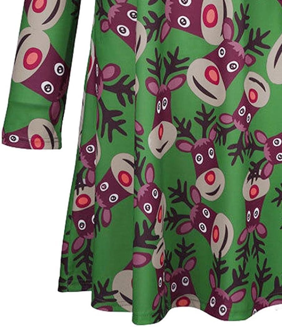 Inkach Ugly Christmas Dress Toddler Girls Deer Printed Long Sleeve Princess Dresses