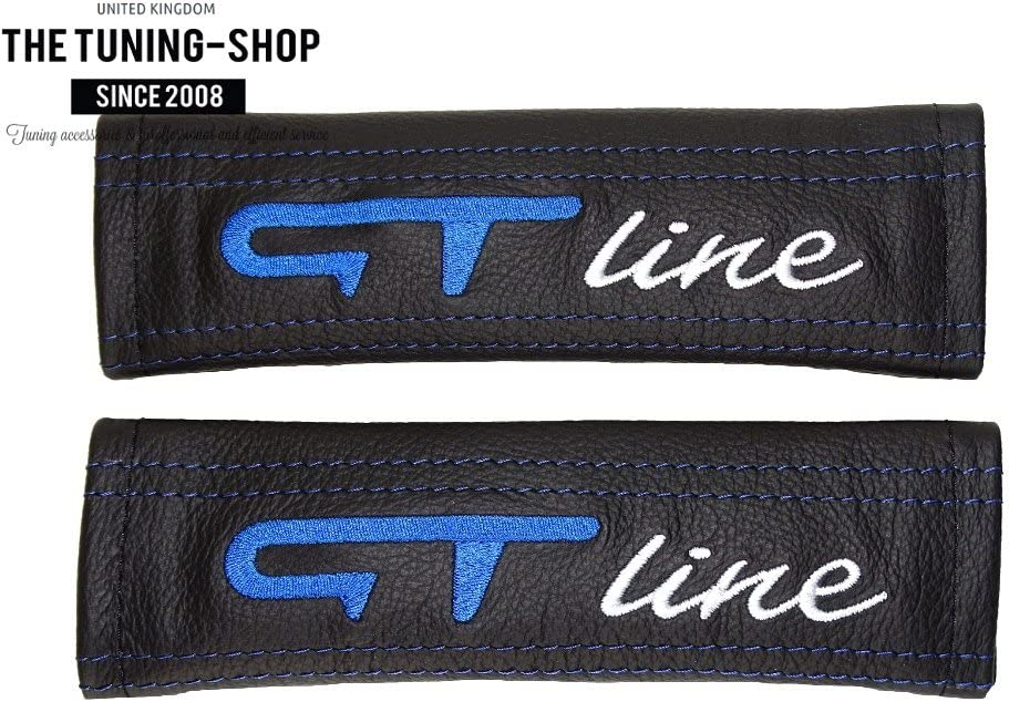 2 x Seat Belt Covers Pads Leather GT Line Blue Embroidery Edition
