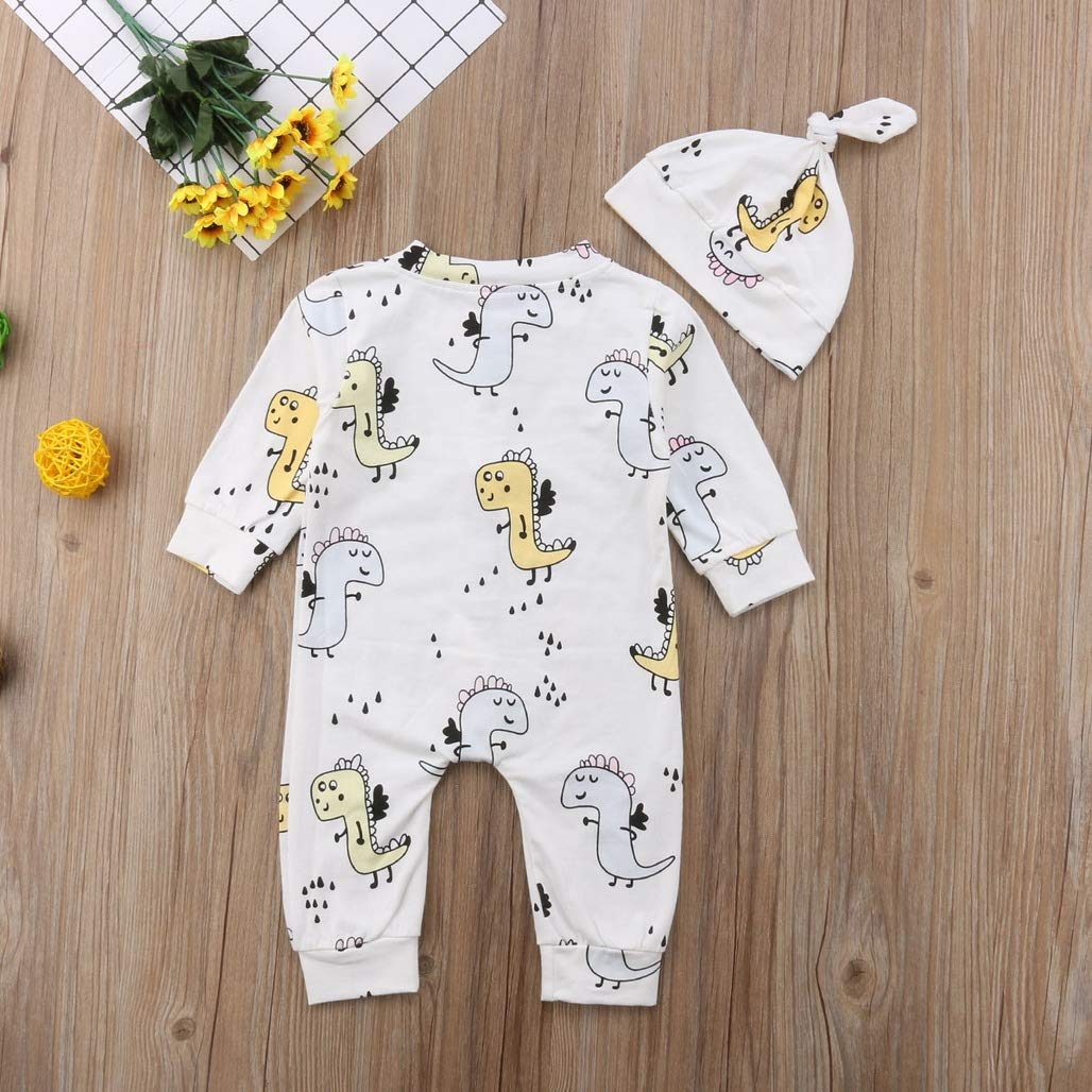 Soft Dinosaur Toddler Baby Boys Girls Clothing Romper Long Sleeve Warm Hat 2pcs Jumpsuit Outfits Clothes 0-24M