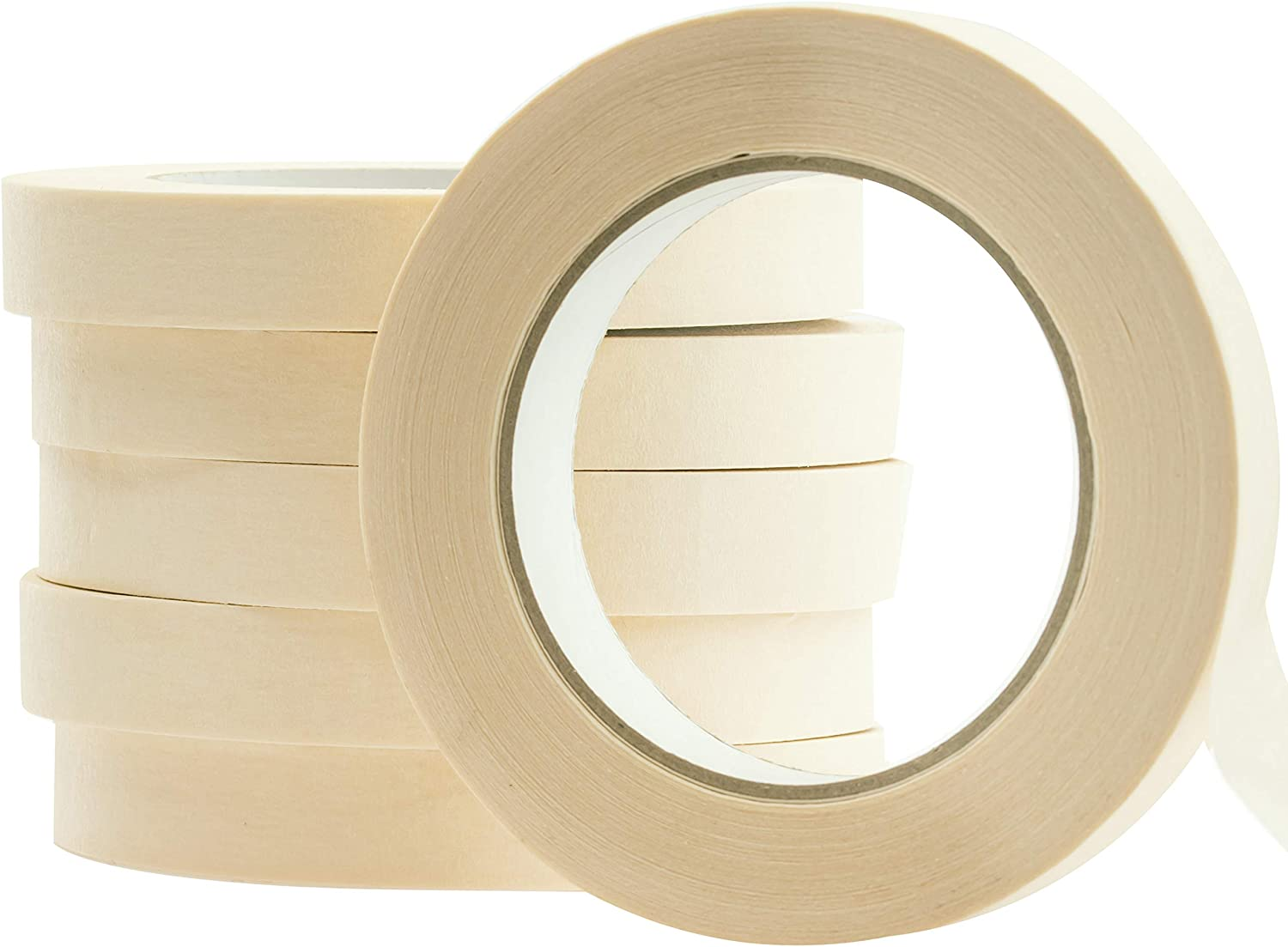 No-Residue 1 Inch, 60 Yard Masking Tape 6 Pk. Easy-Tear, Pro-Grade Removable Painters Tape Great for Home, Office or Commercial Contractor. Clean, Drip-Free Painting with Wide Crepe Paper Rolls
