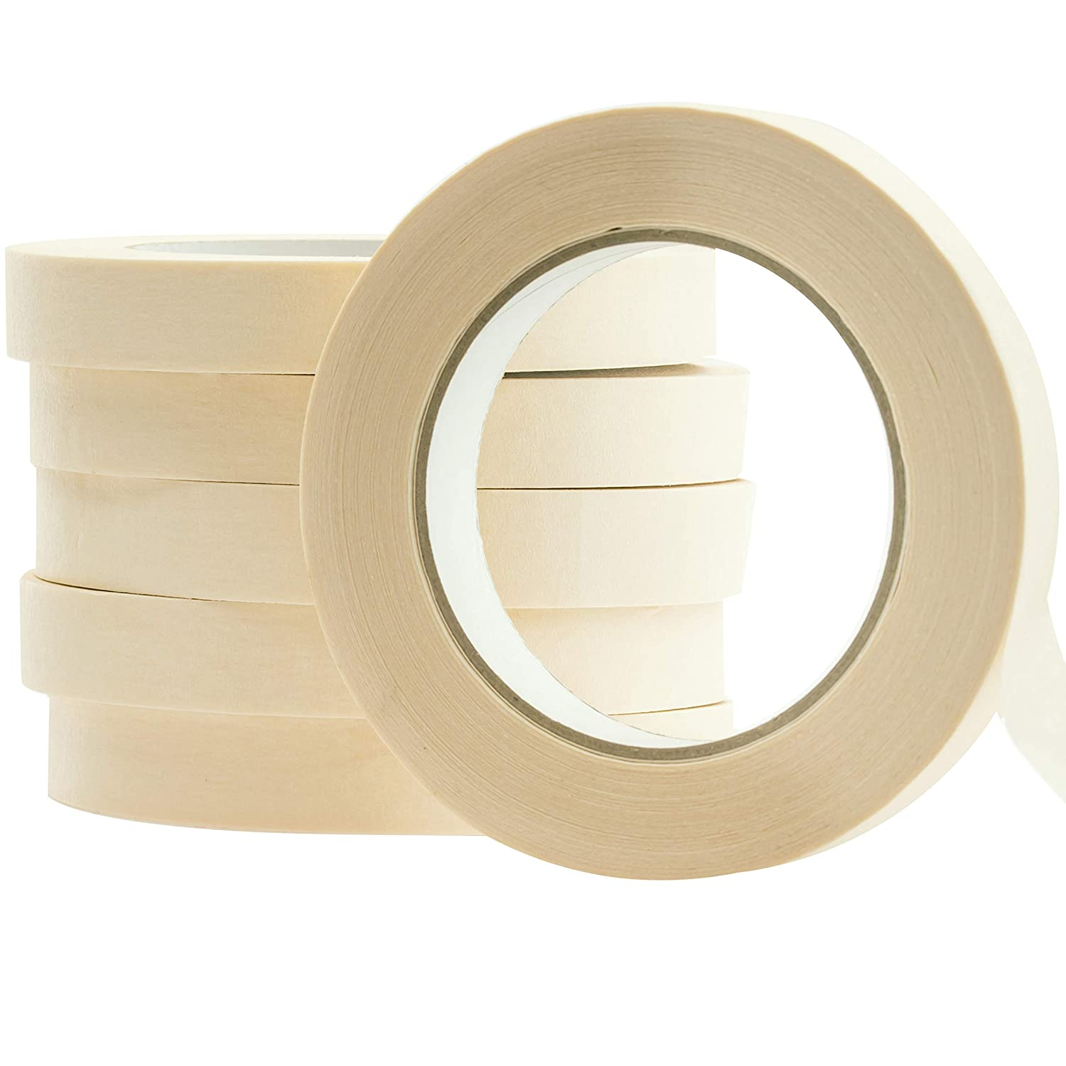 Drip-Free Painting with Wide Crepe Paper Rolls Clean No-Residue 1 Inch Pro-Grade Removable Painters Tape Great for Home 60 Yard Masking Tape 1 Pk Easy-Tear Office or Commercial Contractor