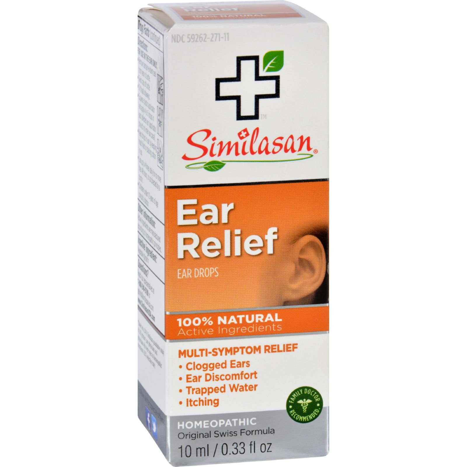 Similasan Ear Relief Ear Drops - Natural - Clogged Ear - Ear Discomfort - Trapped Water - Itching - 10 ml (Pack of 2)