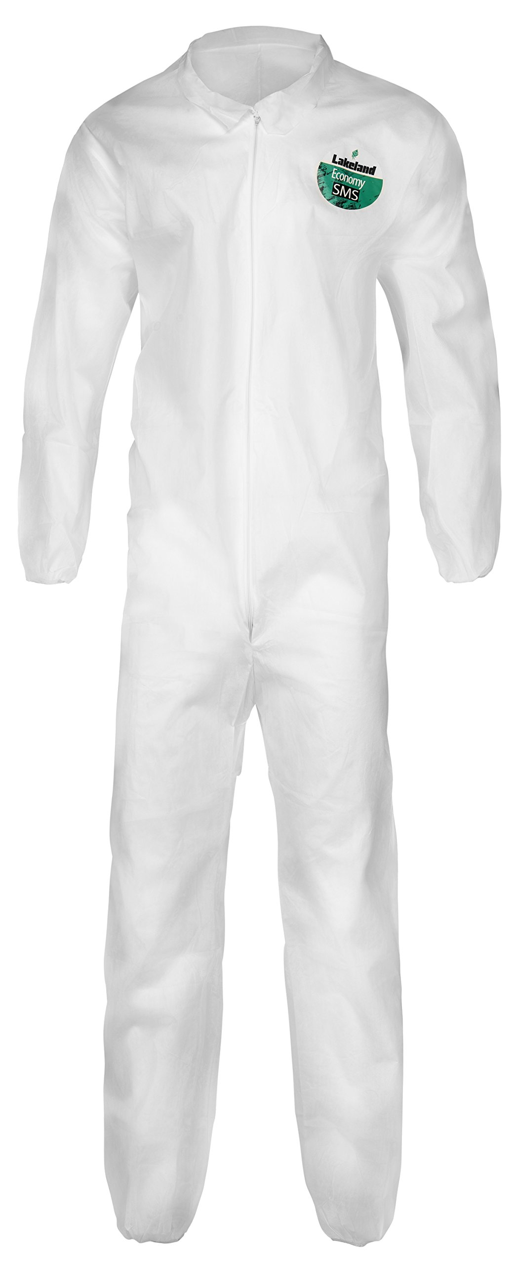 Lakeland SafeGard Economy SMS Coverall, Disposable, Elastic Cuff, 2X-Large, White (Case of 25) by Lakeland Industries Inc